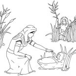 Moses, Moses Mother See Moses Was Found By Pharaoh Sister Coloring Page: Moses Mother See Moses was Found by Pharaoh Sister Coloring Page