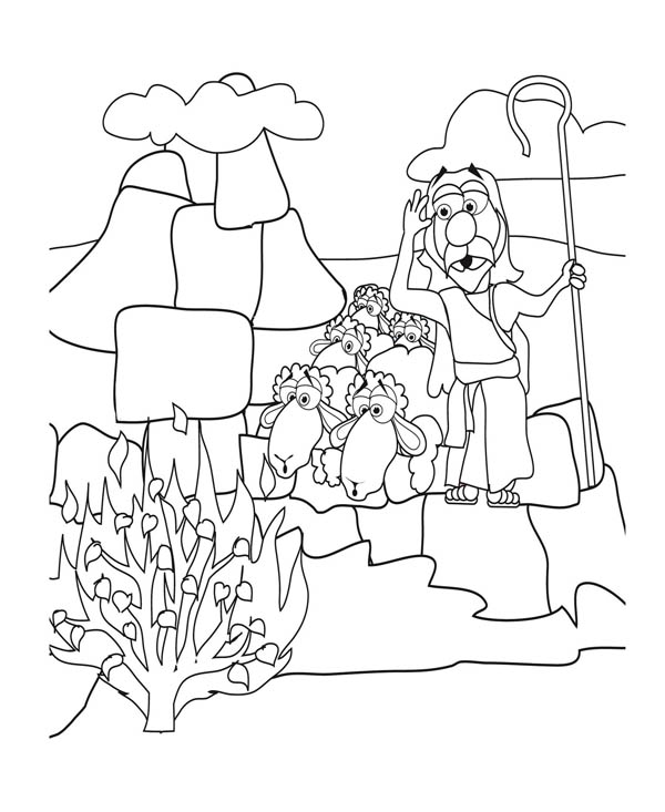 Moses, : Moses See Burned Bush Coloring Page