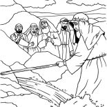 Moses, Moses Strike His Stick To The Rock Coloring Page: Moses Strike His Stick to the Rock Coloring Page