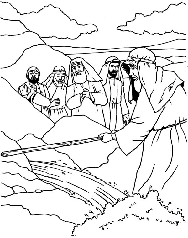 Moses, : Moses Strike His Stick to the Rock Coloring Page