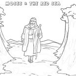 Moses, Moses Walking Through Red Sea Coloring Page: Moses Walking Through Red Sea Coloring Page