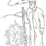 Moses, Moses And Burn Bush Coloring Page: Moses and Burn Bush Coloring Page