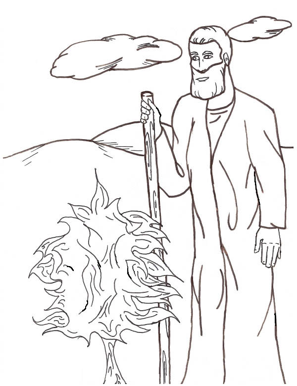 Moses, : Moses and Burn Bush Coloring Page