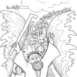 Moses, Moses And His People Passed Through Red Sea Coloring Page: Moses and His People Passed Through Red Sea Coloring Page