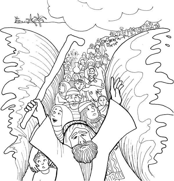 Moses, : Moses and His People Passed Through Red Sea Coloring Page