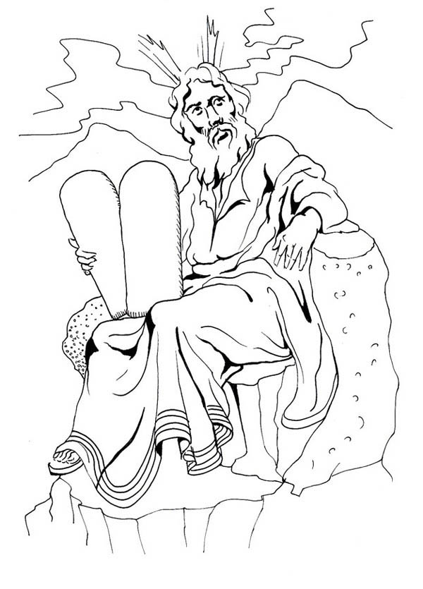 Moses, : Moses and the Ten Commandments of God Coloring Page