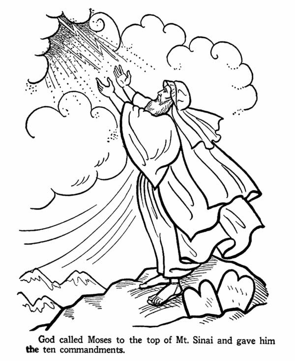 Moses, : Moses on the Top of Mount Sinai Receive the Ten Commandments Coloring Page