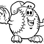 MLB, Mr Baseball Mascot In MLB Coloring Page: Mr Baseball Mascot in MLB Coloring Page