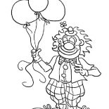 Clown, Mr Clown Has Tree Balloon Coloring Page: Mr Clown Has Tree Balloon Coloring Page