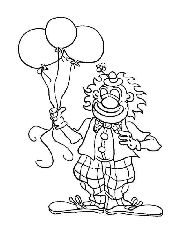 Clown, : Mr Clown Has Tree Balloon Coloring Page