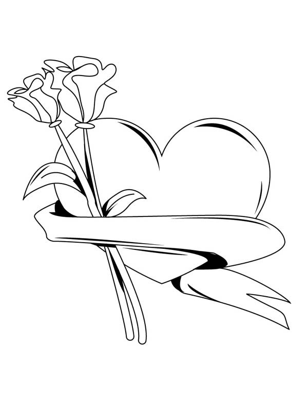 My Hearts And Roses For You Coloring Page : Color Luna