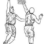 NBA, NBA Action Coloring Page: NBA Action Coloring Page