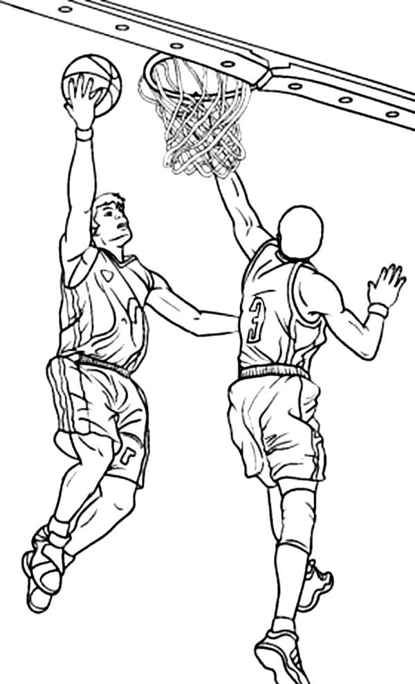NBA, : NBA Action Coloring Page
