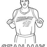 NBA, NBA Charlotte Sean May Coloring Page: NBA Charlotte Sean May Coloring Page