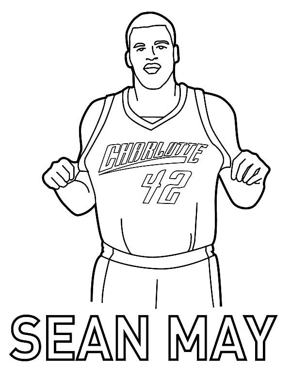 NBA, : NBA Charlotte Sean May Coloring Page