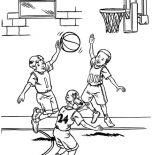 NBA, NBA Player Blocked Shot Coloring Page: NBA Player Blocked Shot Coloring Page