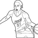 NBA, NBA Player Dribbling Coloring Page: NBA Player Dribbling Coloring Page