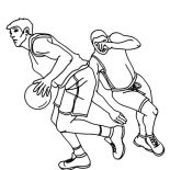 NBA, NBA Player Drive Through The Basket Coloring Page: NBA Player Drive Through the Basket Coloring Page