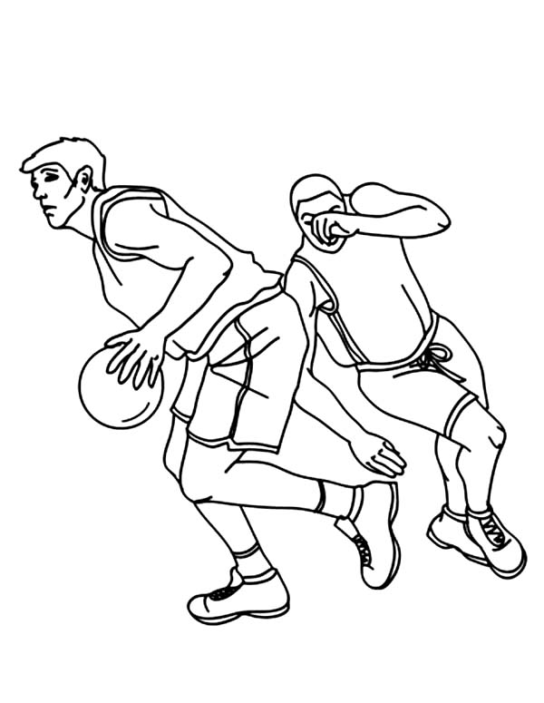 NBA, : NBA Player Drive Through the Basket Coloring Page