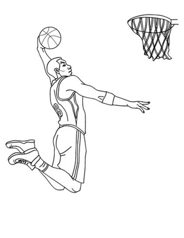 NBA, : NBA Player Slam Dunk Coloring Page