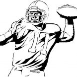 NFL, NFL Player Throwing Ball Coloring Page: NFL Player Throwing Ball Coloring Page