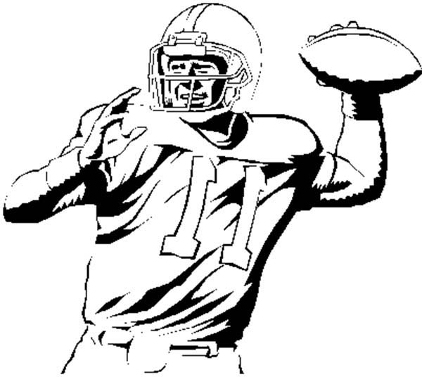 NFL, : NFL Player Throwing Ball Coloring Page