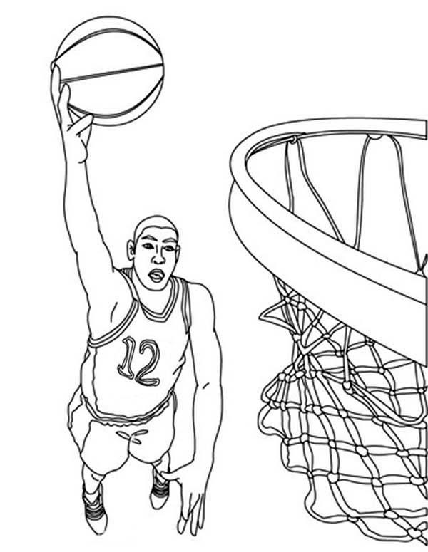 NBA, : Nba Basketball Player Coloring Page