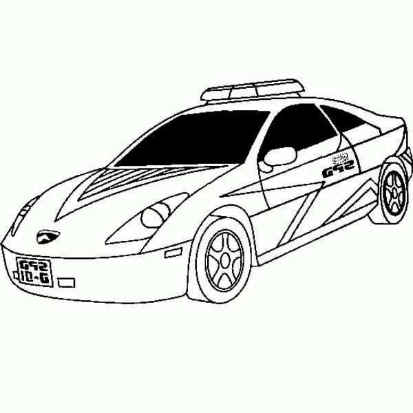 Police Car, : New Lamborghini Police Car Coloring Page