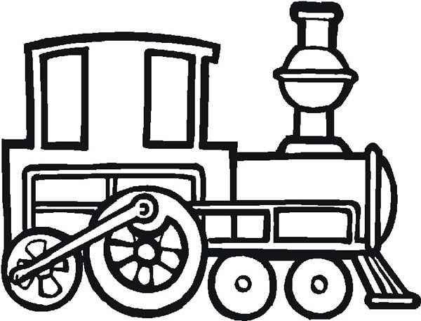 Trains, : Old Locomotive Train Coloring Page