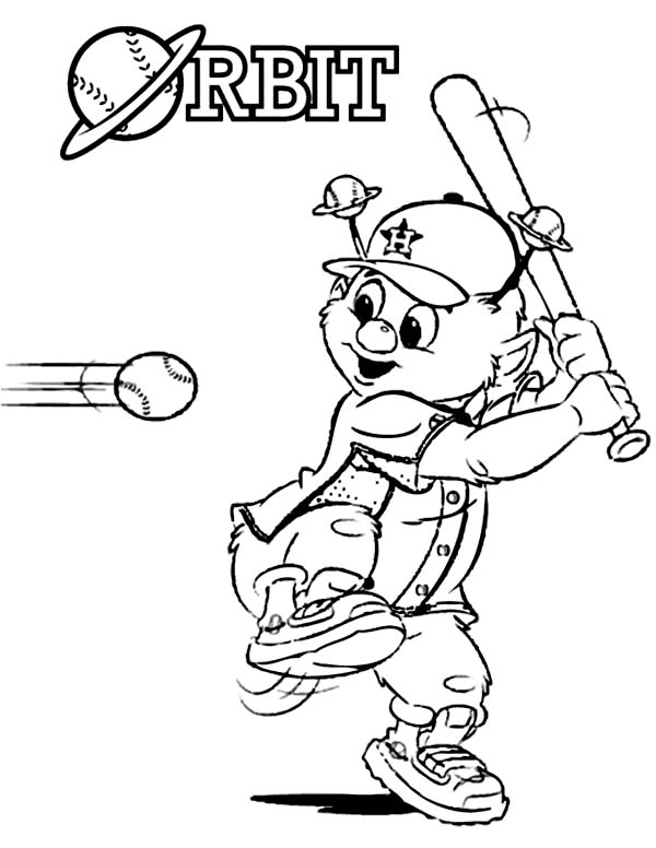 MLB, : Orbit the Mascot in MLB Coloring Page