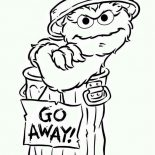 Sesame Street, Oscar Say Go Away In Sesame Street Coloring Page: Oscar say Go Away in Sesame Street Coloring Page