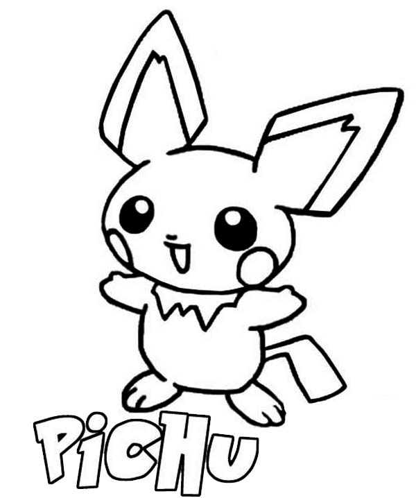 Pichu, : P is for Pichu Coloring Page