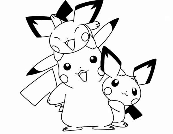 Pichu, : Pichu Happy Family Coloring Page