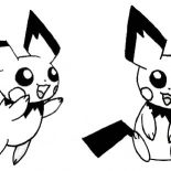 Pichu, Pichu Jumping Around Coloring Page: Pichu Jumping Around Coloring Page