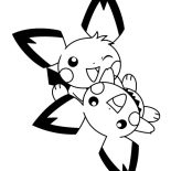 Pichu, Pichu Playing Together Coloring Page: Pichu Playing Together Coloring Page