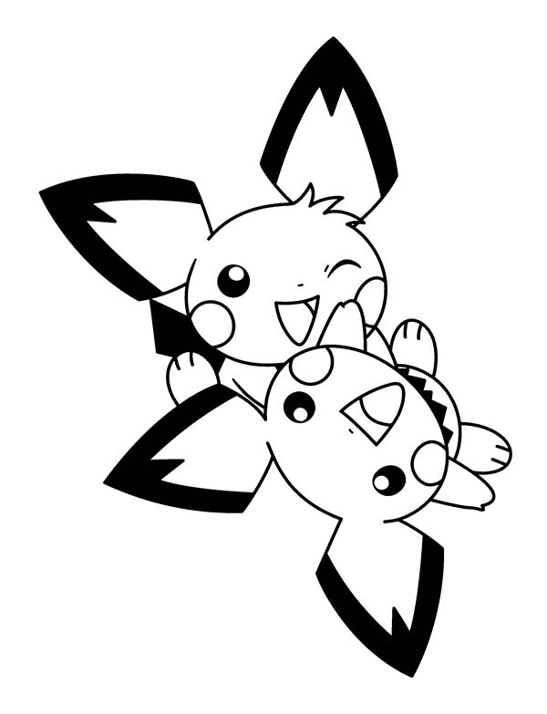 Pichu Playing Together Coloring Page Color Luna