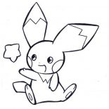 Pichu, Pichu Playing With Star Coloring Page: Pichu Playing with Star Coloring Page