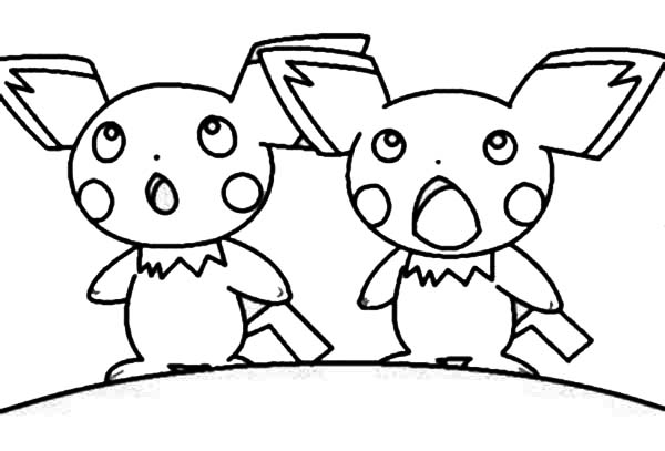 Pichu surprised face coloring page color luna for Pichu coloring pages