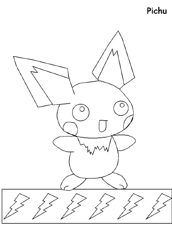 Pichu, : Pichu and Ligting Coloring Page