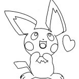 Pichu, Pichu Is In Love Coloring Page: Pichu is in Love Coloring Page