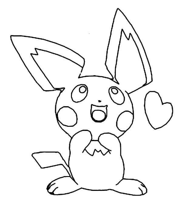 Pichu, : Pichu is in Love Coloring Page