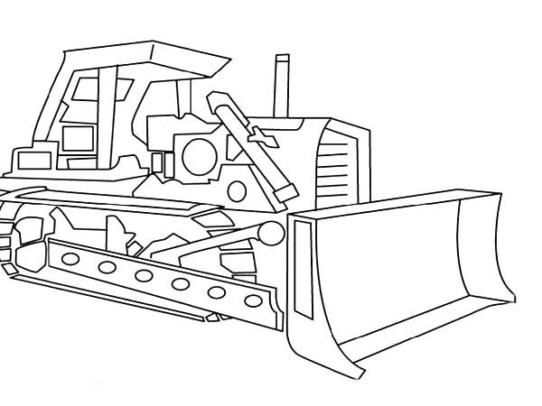 Digger, : Picture of Digger Tractor Coloring Page