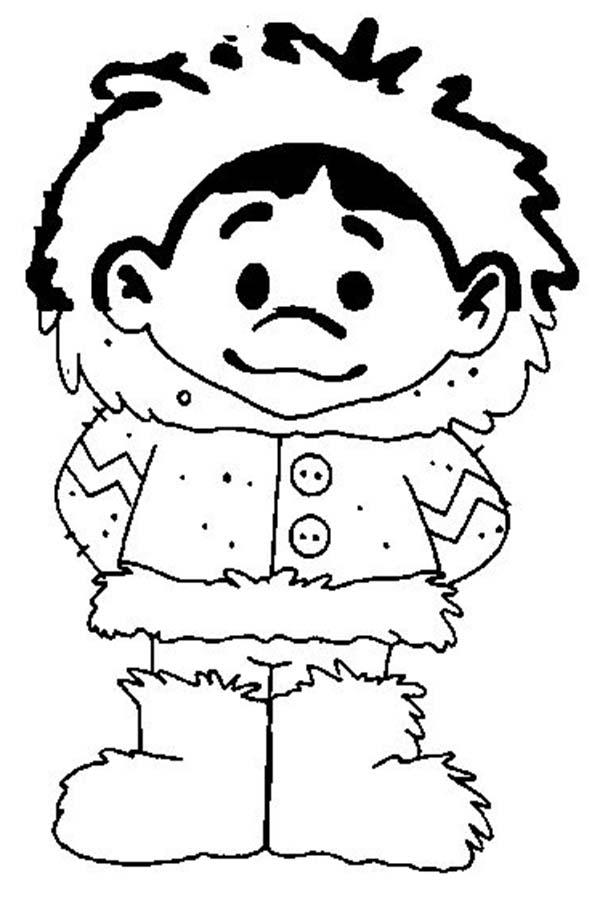 Eskimo, : Picture of Eskimo Boy Coloring Page
