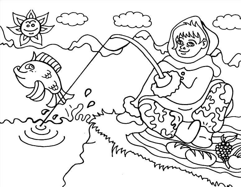 Eskimo, : Picture of Eskimo Fishing Coloring Page