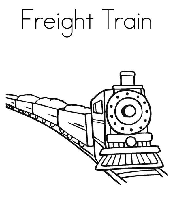 Trains, : Picture of Freight Train Coloring Page
