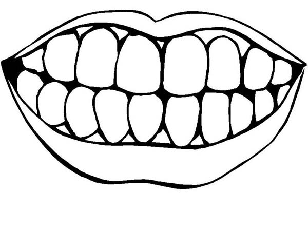 Dental Health, : Picture of Healthty Teeth in Dental Health Coloring Page