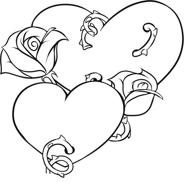Hearts & Roses, : Picture of Hearts and Roses Coloring Page