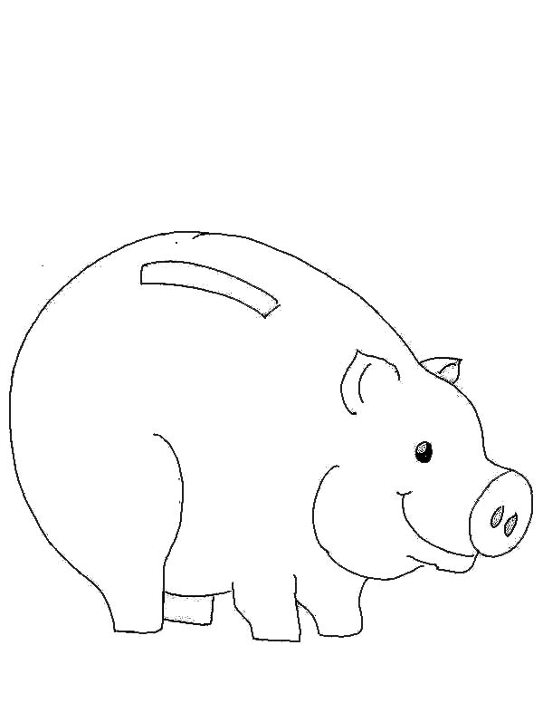 Piggy Bank, : Picture of Piggy Bank Coloring Page