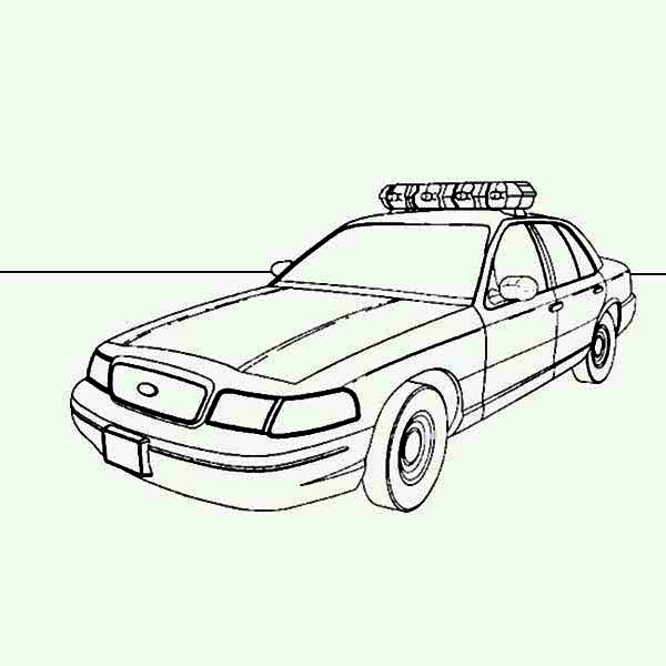 Police Car, : Picture of Police Car Coloring Page