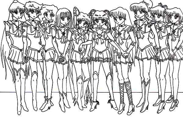 Sailor Moon, : Picture of Sailor Moon Characters Coloring Page